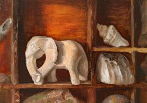 Curiosities, 5x7, oil on panel, © Nelia Harper