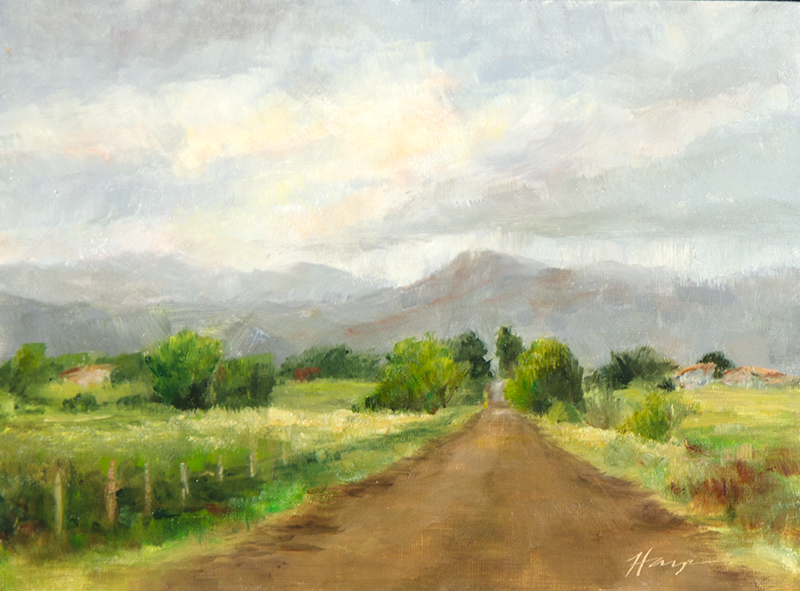 Road to Horsetooth, 6x8, oil on linen panel, Turning, 6x8, oil on linen panel, © Nelia Harper