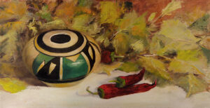 Wooden Bowl with Leaves, oil on canvas, 8x16, © Nelia Harper