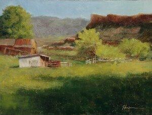 Greener Pastures, oil on panel, 9x12, © Nelia Harper