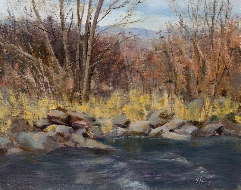 Rocky Shore, 8x10, oil on linen, © Nelia Harper