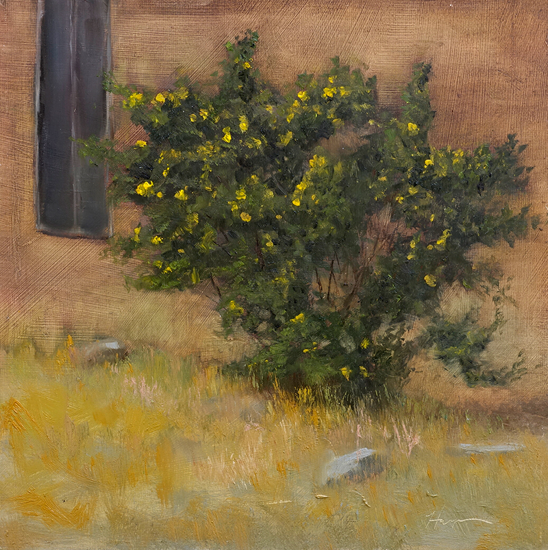 Roses in Bloom, 9x9, oil on linen panel, © Nelia Harper
